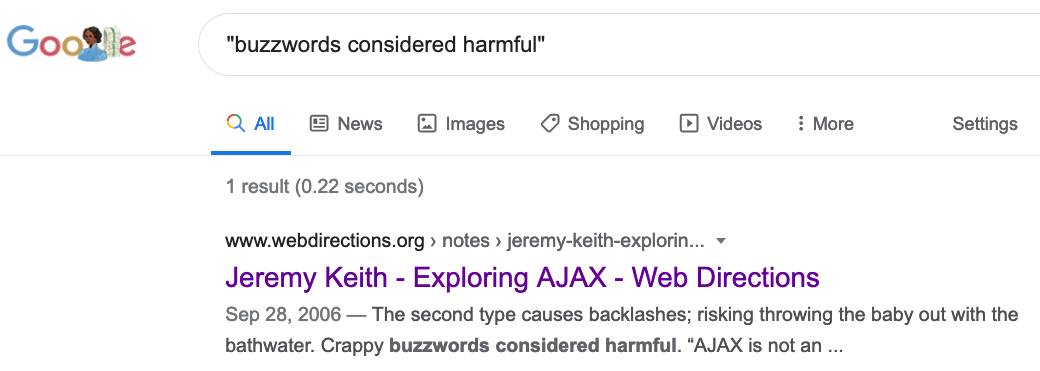 There was only one Google Search result for 'Buzzwords considered harmful'